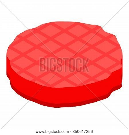 Burger Cutlet Icon. Isometric Of Burger Cutlet Vector Icon For Web Design Isolated On White Backgrou