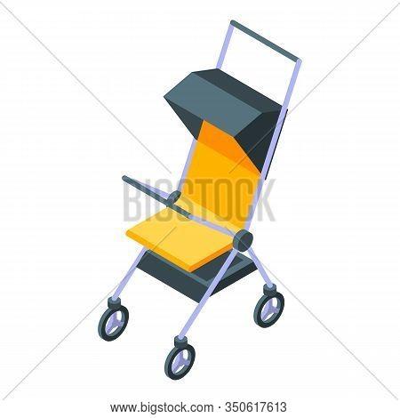 Baby Carriage Icon. Isometric Of Baby Carriage Vector Icon For Web Design Isolated On White Backgrou