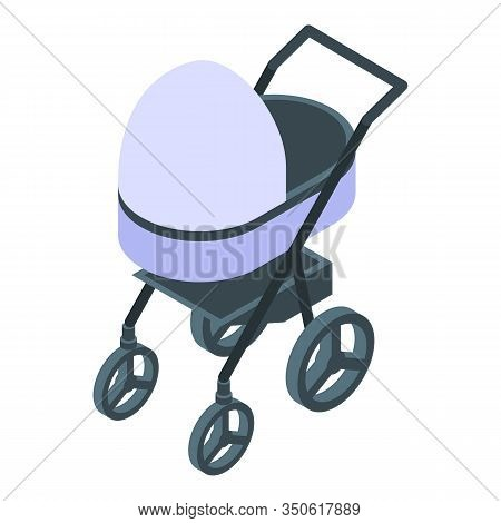 Textile Baby Pram Icon. Isometric Of Textile Baby Pram Vector Icon For Web Design Isolated On White