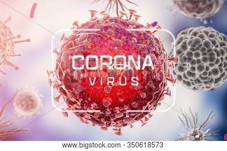 Corona Virus. Virus Cells Or Bacteria Molecule. Flu, View Of A Virus Under A Microscope, Infectious