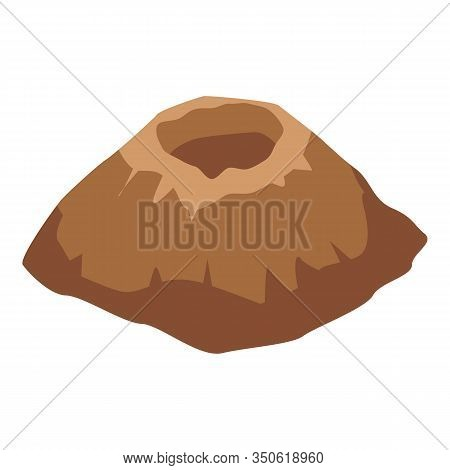 Erupted Volcano Icon. Isometric Of Erupted Volcano Vector Icon For Web Design Isolated On White Back
