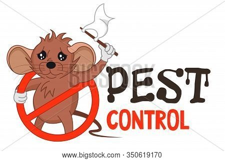 Funny Vector Illustration Of Pest Control Logo For Fumigation Business. Comic Locked Mouse Surrender