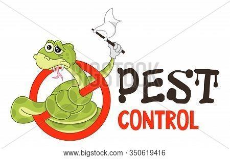 Funny Vector Illustration Of Pest Control Logo For Fumigation Business. Comic Locked Snake Surrender