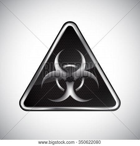 Caution Biological Hazard Sign. Black And White Metal Warning Bio Hazard Sign On White Background. I
