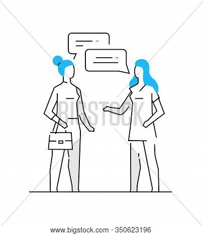 Woman Communicates With Her Friend. Family, Relationships, Convenience, Work, Home. Infographics Lin