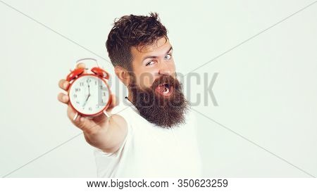 Hate Morning Awakening. Bearded Man Hate Alarm Clock. Guy Bearded Mature Man Worry About Time Left.