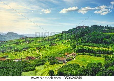 Langhe Vineyards Sunset Panorama, La Morra, Unesco Site, Piedmont, Northern Italy Europe.