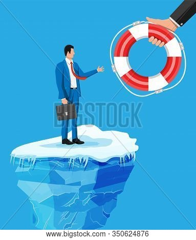 Desperate Businessman Floats On Iceberg Getting Lifebuoy. Helping Business To Survive. Help, Support