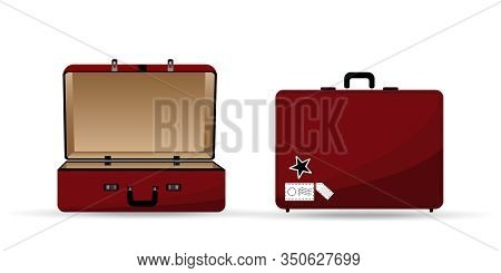 Suitcase In Red Color Is Opening And Closing On White Background. Travel Bag Design For Vacation Des