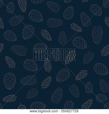 Vector Brown Pinecones Outlines On Blue Background Seamless Repeat Pattern. Background For Textile,