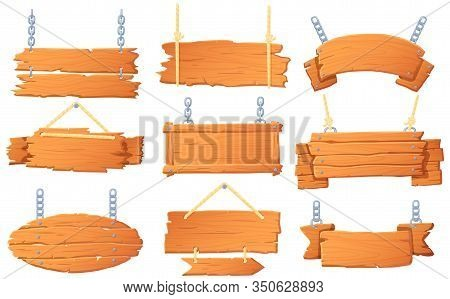 Hanging Wooden Banners. Wood Board On Rope, Hanged Signboard And Banner With Wood Texture Cartoon Ve