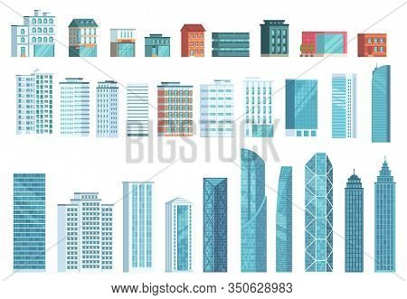 Modern City Buildings. City Skyscraper Building, Town Houses, Business Office Skyscrapers Vector Ill