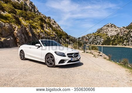 Mallorca, Spain - May 7, 2019: Mercedes Benz Car Parked In The Mountainous Part Of The Island Of Maj