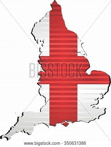 Shiny Grunge Map Of The England - Illustration,  Three Dimensional Map Of England