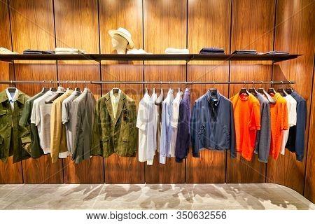 HONG KONG, CHINA - CIRCA JANUARY, 2019: interior shot of Brioni store at ifc mall in Hong Kong. Brioni is an Italian menswear couture house