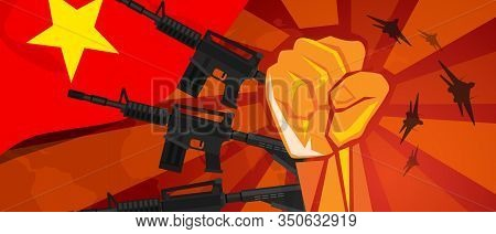 Vietnam War Propaganda Hand Fist Strike With Arm Weapon Plane And Flag. Vintage Red Symbol Of Aggres