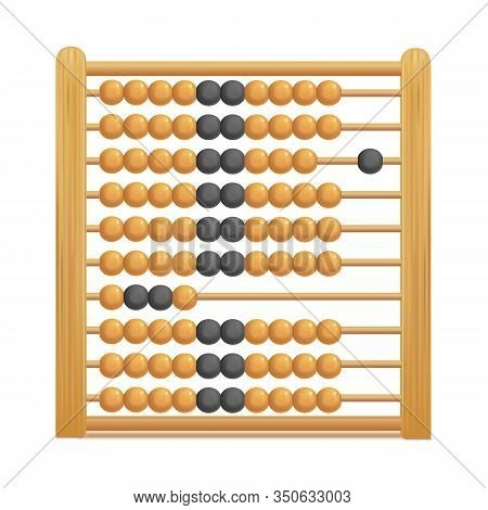 Realistic 3d Detailed Brown Wooden Abacus Stationary For Education Arithmetic Symbol Of Traditional