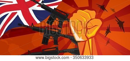 Uk United Kingdom England War Propaganda Hand Fist Strike With Arm Weapon Plane And Flag. Vintage Re