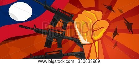 Laos War Propaganda Hand Fist Strike With Arm Weapon Plane And Flag. Vintage Red Symbol Of Aggressio