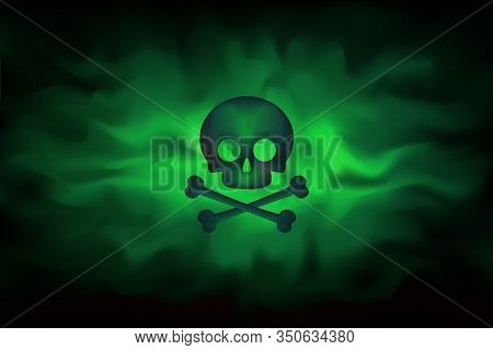 Toxic Sign On A Background Of Infected Green Fog. Poison Hazard Sign. Dangerous Haze Poisoned. Sprea