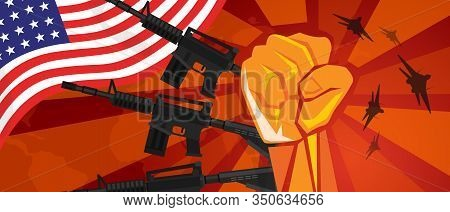 Usa America War Propaganda Hand Fist Strike With Arm Weapon Plane And Flag. Vintage Red Symbol Of Ag
