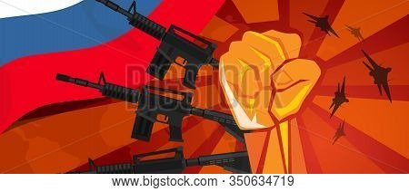 Russia War Propaganda Hand Fist Strike With Arm Weapon Plane And Flag. Vintage Red Symbol Of Aggress