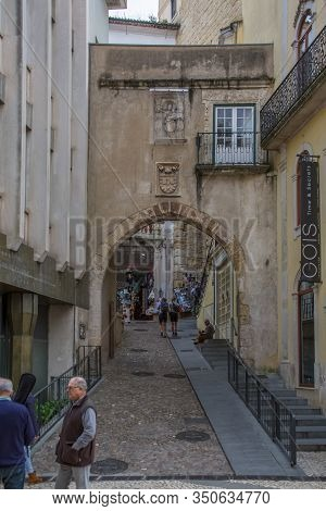 Coimbra / Portugal - 04 04 2019 : View Of A Gothic Gate, Medieval Details On Facade, A Iconic Urban