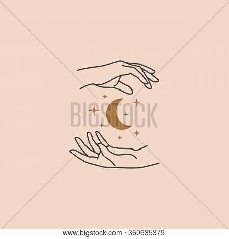 Female Hand Logo In A Minimal Linear Style. Vector Logo Design Templates With Hand Gestures, Moon An