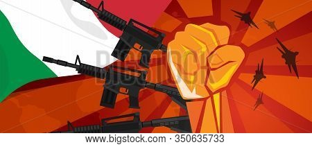 Italy War Propaganda Hand Fist Strike With Arm Plane And Flag. Vintage Red Symbol Of Aggression And
