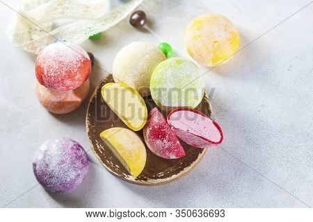 Japanese Ice Cream Mochi In Rice Dough. Traditional Japanese Dessert On White Background.