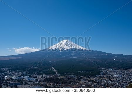 View Of Mount Fuji, Commonly Called Fuji San In Japanese, Mount Fuji's Exceptionally Symmetrical Con
