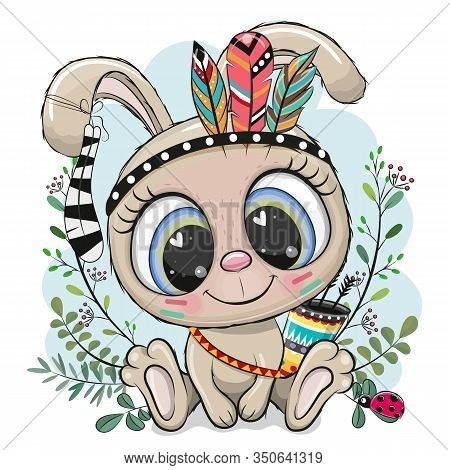 Cute Cartoon Tribal Rabbit With Feathers On A Blue Background