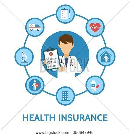 Health Insurance Infographic. Medical Examination. Health Protection. Healthcare, Medical Service. O