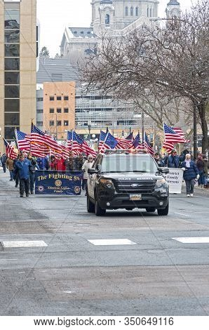 St. Paul, Mn/usa - January 25, 2020: Local Branch Of American Legion Marches At Annual Saint Paul Wi