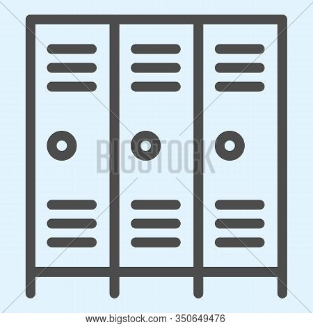 School Safe Lockers Line Icon. Locker Or Cabinet For School Closet, Gym, Stadium. Sport Vector Desig