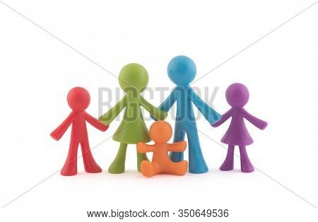 Colorful family figurines on white background with clipping path