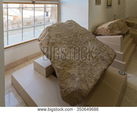 Jerusalem, Israel, January 25, 2020 : Stone With Words Engraved On It In Aramaic - Exhibit Of The Mu