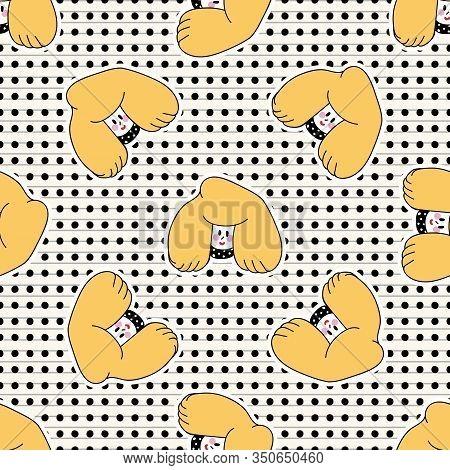 Cute Girl Kawaii Cheerful Seamless Vector Pattern. Japanese Style Cartoon Smiling Woman On Polka Dot