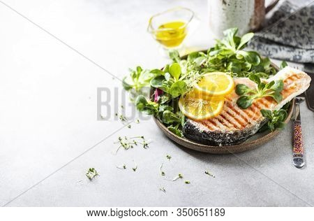 Steak Trout Fillet, Salmon Cooked In A Sous-vide Bag. New Technology Cuisine