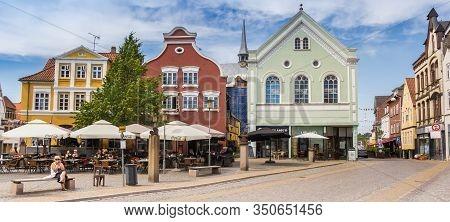 Haderslev, Denmark - June 26, 2019: Panorama Of The Central Square Of Haderslev, Denmark