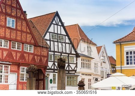 Haderslev, Denmark - June 26, 2019: Half Timbered Houses At The Central Square Of Haderslev, Denmark