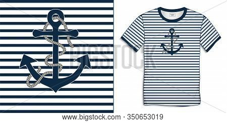 Print On T-shirt Graphics Design, Motive Image Shirt Sailor Stripes With Anchor And Rope, Isolated O