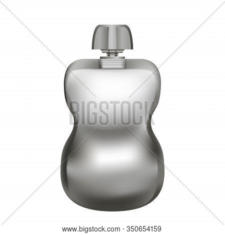 Realistic Blank Silver Pouch Doypack With Top Cap