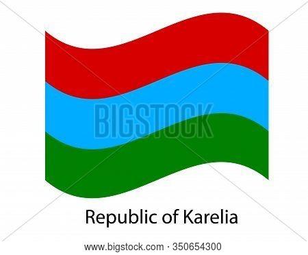Republic Of Karelia Flag, Isolated On White Background. Russia Oblast Flag Illustration. Russian Fed