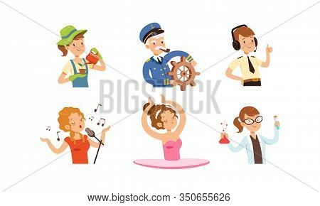 Children Of Different Professions Set, Cute Boys And Girls Characters, Gardener, Captain, Air Traffi