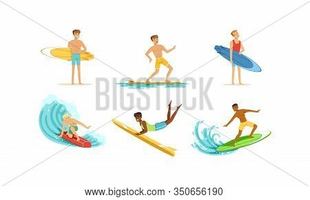 Surfing Young Men Collection, Male Surfers With Surfboards Riding Waves Vector Illustration