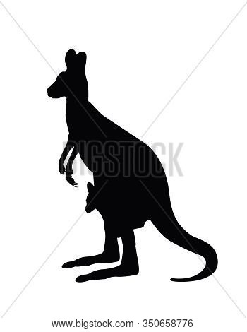 Kangaroo Carrying A Cute Baby, Silhoutte Kangaroo Withe Baby .