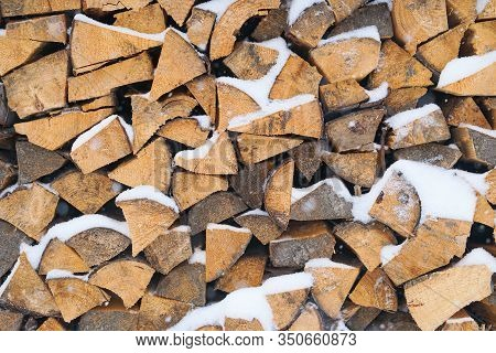Wood Burning Stove. Firewood For Furnace Heating. Warehouse For Firewood For Stove.natural Wooden Ba