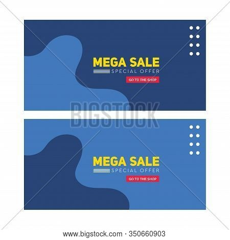 Blue Abstract Banner Design. Vector, Illustration. Abstract Poster Vector. Facebook Cover.