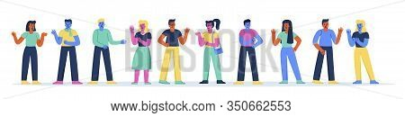 Horizontal Banner With Youngsters Or Teenage Boys And Girls Talking To Each Other. Collection Of Col